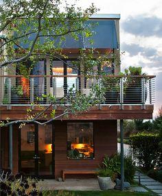 New deck railing, horizontal w wood handrail: Deck at Family Room - modern - exterior - san francisco - modern house architects