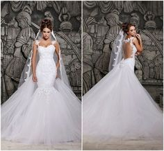 2014 Designers White Lace And See Through Mermaid Wedding Dresses With Removable Train Bridal Dresses Tulle Love05