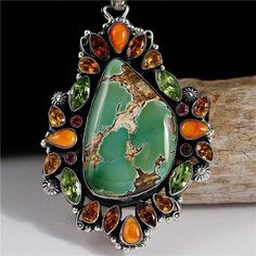 LEO FEENEY Natural ROYSTON Turquoise Necklace Pendant Sterling Silver Gemstones