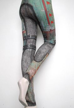 Armour Leggings -  Green - Printed Chainmail and Metal Tights - Warrior in Armor