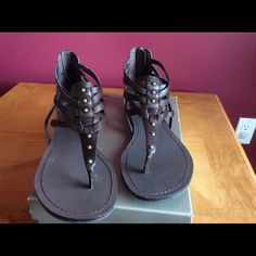 Marc Fisher Brown studded gladiator sandals SZ8M These are adorable and look great with jeans, capris, dresses.  Worn a couple times. Marc Fisher Shoes Sandals