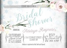 Winter Bridal Shower blue green - printable invitation, watercolor bridal shower invitation by Printable and printed Wedding Invitations by Divine Find Paperie Rustic Bridal Shower Invitations, Bridal Shower Rustic, Wedding Invitations, Printable Invitations, Printables, Winter Bridal Showers, Light Blue Green, Watercolor Invitations, Watercolor Flowers