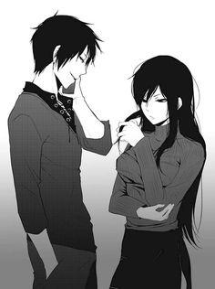 Source: weheartit.com anime boy and girl black hair fav manga durarara!! izaya orihara namie yagiri anime boy anime couple anime girl cute anime