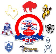 These were the original AFL teams. From left to right, bottom to top, The New York Titans (New York Jets), The Los Angeles Chargers (San Diego Chargers), The Boston Patriots (New England Patriots), The Dallas Texans (Kansas City Chiefs), The Buffalo Bills, The Denver Broncos, The Oakland Raiders, and The Houston Oilers (Tennessee Titans). American Football League, National Football League, Football Boys, Football Cards, Football Stuff, School Football, Sports Team Logos, Sports Art, Denver Broncos Womens