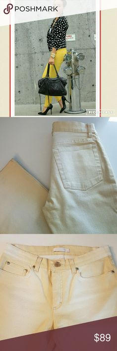 Roberto Cavalli mustard yellow jeans These jeans are amazing.  They do have quite a bit of stretch to them.  Yet they hold you in at the right places. I have never felt as good wearing a pair of jeans. In excellent condition. Roberto Cavalli Jeans Straight Leg