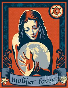 Sheppard Fairey inspired stencil art I AM A MOTHER LOVER