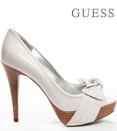 6400ea2ac893c Guess Shoes Chief - White Leather Take your next escapade in these white  hot heels from Guess. Chief brings you white leather with a pretty knotted  bow a