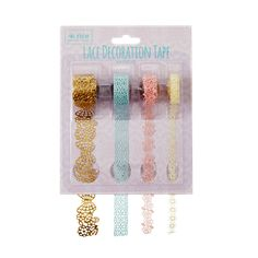 4 Rolls of Paper Lace Tape for Decoration in Assorted Colors