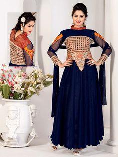 Navy Blue Gown, Navy Blue Color, Party Wear Long Gowns, Designer Anarkali, Georgette Fabric, Anarkali Suits, Bridesmaid Dresses, Wedding Dresses, Ladies Party