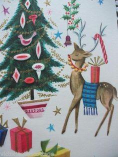 Vintage Greeting Card 'A Perfect Christmas' Angel Reindeer Bluebird Tree Child | eBay