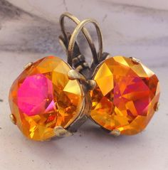 Astral Pink Swarovski Crystal Earrings Square Cut by GlitterFusion