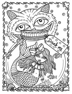 ALICE IN WATERLAND COLORING BOOK Alice is lost under the sea with all her favorite friends! If you love mermaids and Alice you will loveeeeeeeeeeeee this book! Cover was digitally colored by Shawn Bobar. Thank you Shawn for an amazing job! Not your ordinary Mermaids! Fun, Quirky, Unique art by me, Deborah Muller! * 25 pages of 81/2 x11 black and white pics on heavy paper. * Printed on one side only so you can frame them. * Professionally Bound ready for you to color. * You can use ...