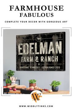 Farm & Ranch Cattle Family Name Established Sign Black - Widdlytinks Wall Art Rustic Wall Art, Modern Farmhouse Decor, Rustic Walls, Farmhouse Signs, Rustic Decor, Wall Decor Design, Unique Wall Decor, Wall Art Decor, Family Name Art