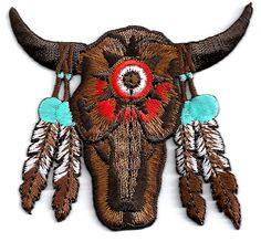 SKULL/SOUTHWESTERN W/FEATHERS EMBROIDERED IRON ON PATCH