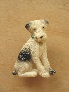 Vintage Dog Brooch - Dog Pin - Welsh Terrier Pin Broach - Wire Fox Terrier - Art Deco Celluloid Dog Brooch - Old Animal Jewelry - Terrier by TheBrightonEmporium on Etsy