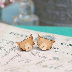 Chat en bois Boucles d'oreilles de Ginger Pickle sur DaWanda.com