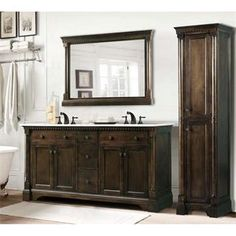 "Check out the Legion Furniture WLF6036-60-SET 60"" Double Sink Vanity in Antique Coffee with Mirror and Side Cabinet - Vanity Top Included priced at…"