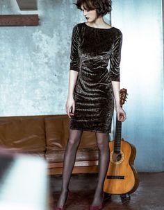 KALA Fashion Kleid mit Paisleymuster aus weichem Samt