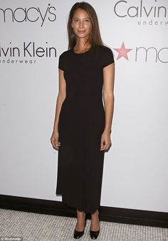 Forever a supermodel... Christy Turlington stunned in a simple black ensemble to promote Every Mother Counts, hosted by Calvin Klein, at Ste...