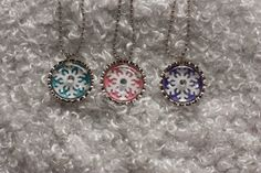 10 Glittery Frozen Snowflake Necklace Party Favor