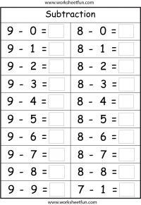 Subtraction – 4 Worksheets