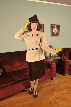 Vintage 1940s SALLY FORTH Stunning Wool Suit Jacket with Velveteen Skirt (Oh I want this, but wouldn't fit, but still......)