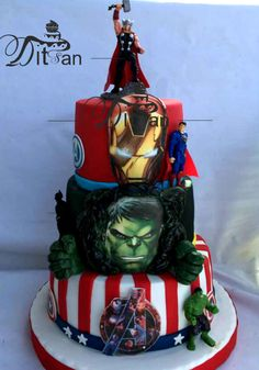 Avengers for my grandson - cake by Ditsan Avengers Birthday Cakes, Birthday Cake For Him, Funny Birthday Cakes, Harry Birthday, Superhero Birthday Cake, Baby Boy Birthday, Birthday Parties, Pastel Marvel, Hulk Cakes