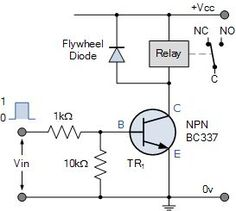 Electronics Tutorial about the Relay Switch Circuit and relay switching circuits used to control a variety of loads in circuit switching applications Electronics Projects, Hobby Electronics, Cool Electronics, Arduino Projects, Electronics Components, Consumer Electronics, Diy Projects, Electronic Schematics, Electronic Parts