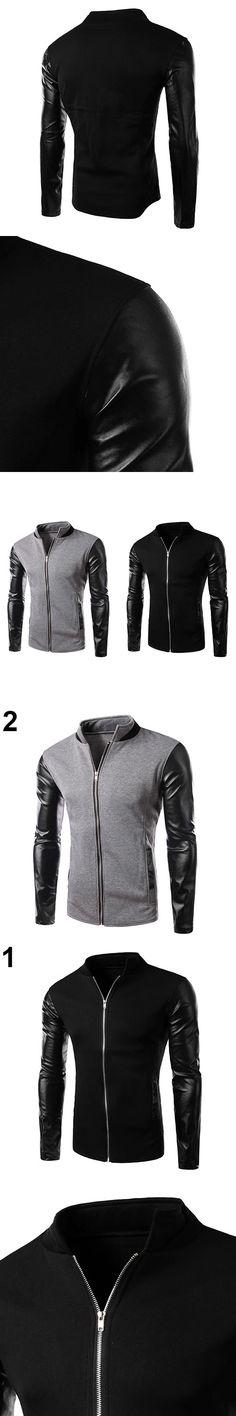 Men Fashion Slim Fit Jacket Stand Collar Long Sleeve Zipper Coat Outwear