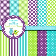 """Monster Inc Inspired 12""""x12"""" Digital Scrapbooking Paper Pack Instant Download,Purple,Turquoise,Green"""