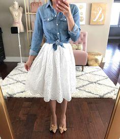 eyelet scalloped hem skirt chambray shirt flower pumps spring outfit idea #shirtideas #skirtoutfits