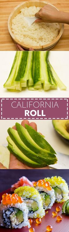 Roll California Roll カリフォルニアロール - Filled with creamy avocado, sweet crab meat and crunchy cucumber, California roll is by far the most popular sushi roll in the US. In this recipe, you'll learn how to make the delicious sushi roll at home. Sushi Recipes, Asian Recipes, Ethnic Recipes, Cucumber Recipes, Asian Foods, Yummy Recipes, Easy Japanese Recipes, Japanese Food, Japanese Cucumber