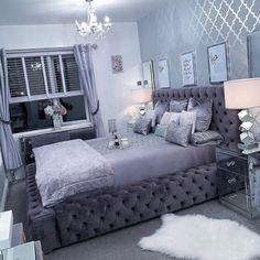Best 27 Room Decor Bedroom Design Ideas For Your Inspiration Luxury Bedroom Design, Room Design Bedroom, Room Ideas Bedroom, Home Decor Bedroom, Girl Apartment Decor, Interior Design, Fancy Bedroom, Stylish Bedroom, Silver Bedroom