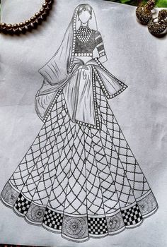 Dress Design Drawing, Dress Design Sketches, Fashion Design Sketchbook, Art Drawings Sketches Simple, Fashion Design Drawings, Fashion Sketches, Fashion Illustration Tutorial, Dress Illustration, Fashion Illustration Dresses