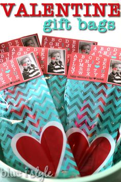 Valentine's Gift Bags filled with fun, toddler appropriate gifts and NO candy.  The bag topper is available for free download on the blog! {blue i style}
