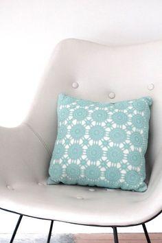 Teal Crochet Cushion