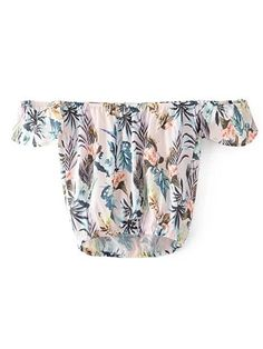 SheIn - SheIn Shirred Off The Shoulder Leaves Print Top - AdoreWe.com