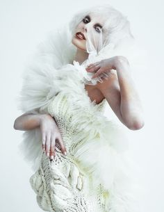 Yuji Watanabe - Ice Queen   Knitted dress by Fan Yang; ballet skirt by Alexandra Konwinski