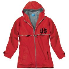 Ladies Red Monogrammed Personalized New Englander Rain Jacket by... ($47) ❤ liked on Polyvore featuring outerwear, jackets, grey, women's clothing, gray jacket, evening jackets, monogrammed rain jacket, cape coat and cape jacket