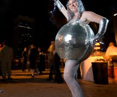 Mirrored Disco Ball Halloween Costume - good way to cover the bump :)
