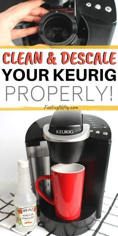 How to Descale and Clean your Keurig coffee maker - 2 Easy Ways {with vinegar and with descale solution). Step by step cleaning instructions are suitable for Keurig ( with filter) and older models Cleaning Keurig With Vinegar, Keurig Cleaning, Toilet Cleaning, Clean Kuerig With Vinegar, Cleaning A Kurig, Vinegar Cleaning Solution, Cleaning Appliances, Bathroom Cleaning Hacks, Kitchen Cleaning