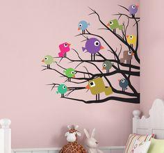 Sticker enfant oiseaux colorés branches arbre