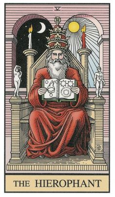 The Hierophant from the Alchemical Tarot? A bit literal but nice symmetry and balance.