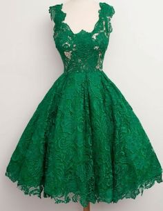 Lace Bridesmaid dress,Short Lace Prom Dress,Cocktail Dress,Green Formal Party Dress,Green Lace Homecoming Dresses by DestinyDress, $166.73 USD