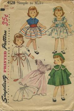 """Vintage Doll Clothes Sewing Pattern 