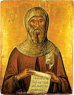 Saint Anthony the Great, on January 17 - Early century Byzantine Art, Byzantine Icons, Religious Icons, Religious Art, Anthony The Great, Orthodox Catholic, Roman Church, Saints And Sinners, Orthodox Icons