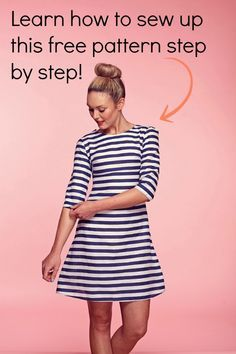 This would be great to do as my first knit dress to sew.  Step-by-step tutorial of a free dress pattern.
