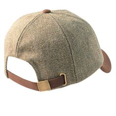 Valley Derby Tweed Leather Peak Baseball Cap - Hats and Caps - Alexander James - English Country Clothing