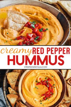 Its easy to make creamy homemade Roasted Red Pepper Hummus! This recipe only takes 15 minutes to whip up and is great for healthy snacking spreading onto wraps or serving as a party dip. Good Healthy Recipes, Gourmet Recipes, Appetizer Recipes, Healthy Snacks, Vegan Recipes, Cooking Recipes, Eat Healthy, Healthy Meats, Vitamix Recipes