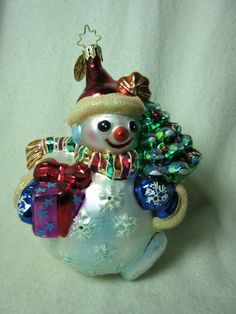 Radko Christmas Ornament Snowman holding Presents and Tree - RETIRED